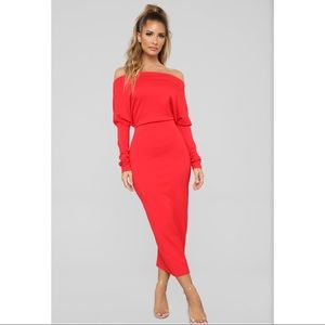 Fashion Nova off-shoulder red midi dress